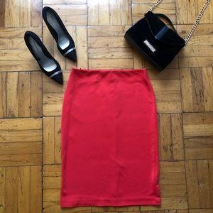 New York & Company | Red Midi Pencil Skirt